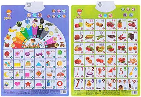 STOBOK 2 stks Peuter Vroege Educatieve Grafiek Kleur Fruit Leren Poster Audio Leren Grafiek Interactief Educatief Praten Spel Speelgoed Tussen Engels en Chinees voor Kids Peuter