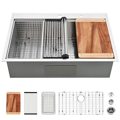 33 Drop In Stainless Steel Sink-VASOYO Kitchen Sink 33 x 22 Drop In Single Bowl Topmount Workstation Kitchen Sink Deep 16 Gauge R10 Stainless Steel Kitchen Sink with Grid & Drain & Cutting Board