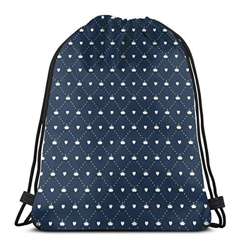 Kordelzug Bapa Taschen Sport Gym Cinch Bag Reisen für Frauen Männer Kinder, Jubelte Mädchen Muster Mit Gepunkteten Linien Kleine Herzen Und Diademe
