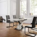 <span class='highlight'>Cherry</span> <span class='highlight'>Tree</span> <span class='highlight'>Furniture</span> High Gloss White Extendable <span class='highlight'>Dining</span> <span class='highlight'>Table</span> 6 to 8-Seater with Stainless Steel Base