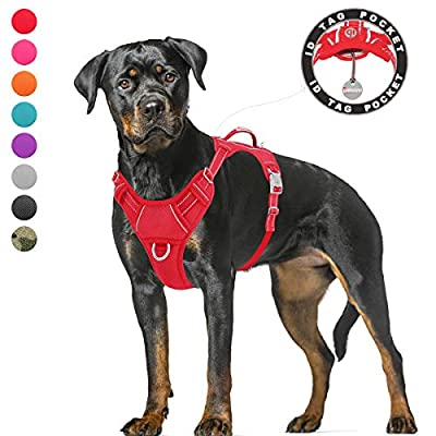 BARKBAY No Pull Dog Harness Large Step in Reflective Dog Harness with Front Clip and Easy Control Handle for Walking Training Running with ID tag Pocket(Red,XL)