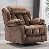 CANMOV Rocker Recliner Chair, Heavy Duty Reclining Chair with Contemporary Overstuffed Arms and Back, Camel