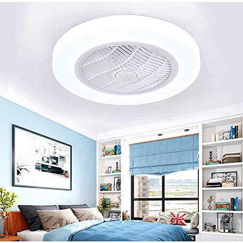 SMG Fandelier Deckenventilator Mit Licht Intelligente Deckenlüftersteuerung Noiseless Motor Einstellbare Windgeschwindigkeit Und Licht Flush Deckenventilator Weiß
