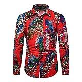 smejs Camisas de vestir de manga larga para hombre con estampado casual de otoño y primavera, tallas grandes (color: rojo, tamaño: código 5XL)