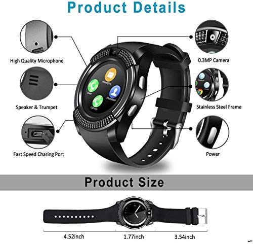 SKY trip V8 Bluetooth Smartwatch Compatible with All 4G Phone with Camera and Sim Card Support Compatible with All Android and iOS Smartphones -Black