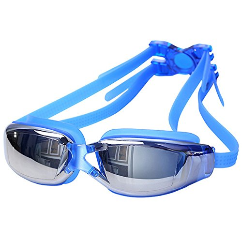 Viner Heren Dames Zwemglas Professionele training UV-zwembril Waterdicht Anti-condens HD-zicht Zwembril, Blauw, M