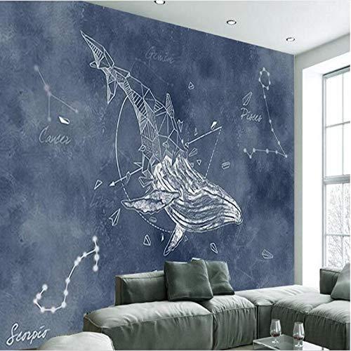 3D Wallpaper Wohnzimmer Schlafzimmer Benutzerdefinierte großformatige Wandbilder Persönlichkeit handgemalte Sternbild Wal Wohnzimmer TV HintergrundHintergrund