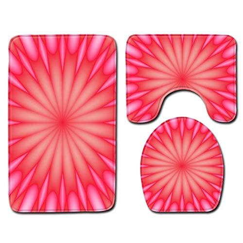 YHJZBD Toilettensitz 3-Teiliges Set Bad Teppiche Set Badteppiche Teppich Badezimmer Toilette Duschraum Teppich Teppiche Memory Foam 3D Pink Floral Badezimmer Badematte Sets