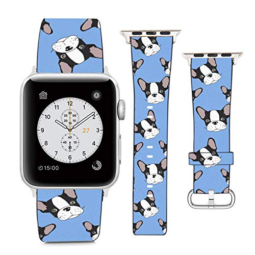 Compatible with Apple Watch Wristband 42mm 44mm, (French Bulldog On Blue Background) PU Leather Band Replacement Strap for iWatch Series 5 4 3 2 1