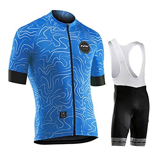 HXPainting Ropa De Ciclismo para Hombre Bicicleta MTB Camiseta Ciclismo Bicicletas Chaqueta Ropa Camisa Transpirable De Secado Rápido + 9D Gel Pantalones Cortos