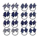 KOONY Baby Girls Hair Bow Elastic Ties Ponytail Holders Hair Bands 16pc (Navy)