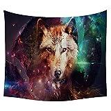 #Wandteppich #Wolf #Wolfskopf #farbig 150x130 oder 200x150cm