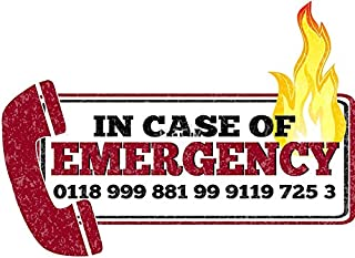 LA STICKERS It Crowd Inspired - New Emergency Number - 0118 999 881 99 9119 725 3 - Moss and The Fire - Sticker Graphic - Auto, Wall, Laptop, Cell, Truck Sticker for Windows, Cars, Trucks