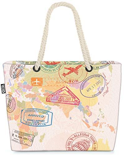VOID Carte du Monde de la Poste Sac de Plage XXL 58x38x16cm 23L provisions Voyage bandoulière Beach Bag Shopper