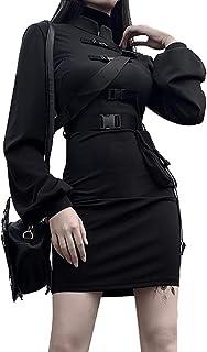 Mujer gótico Punk Negro Hebilla Mini Bodycon Vestir Clásico Cheongsam Largo Manga Vestir Ropa de Calle Hembra Vestidos