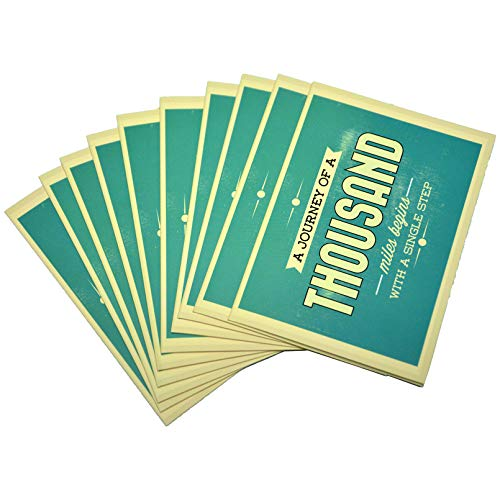 """10 Pack 5"""" x 7"""" Assorted Motivational Cards - Inspirational and Kindness Note Cards,Good luck cards, Gratitude Encouragement Card Set with 10 Envelopes Boxed Set (a journey of a thousand miles begins with a single step)"""