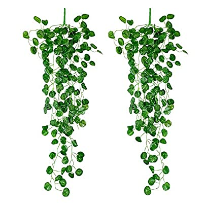 Yatim 90 cm Grape Ivy Vine Artificial Plants Greeny Chain Wall Hanging Leaves for Home Room Garden Wedding Garland Outside Decoration Pack of 2