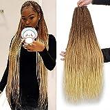 ZRQ 34 Inch 8 Packs Senegalese Twist Crochet Hair 40Strands/pack Synthetic Crochet Braiding Hair Blonde Sengalese Twist Crochet Braids Synthetic Hair Braiding Hair Extensions(34'8packs, 27/613#)