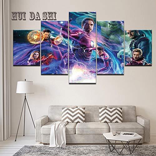 Hopeyard Moderna Tela Pittura HD Print Avenger Infinity War Movie Set di Caratteri Poster 5 Pezzi Immagine di Arte della Parete Decorata per Camera da lettoFramed40x60cm40x80cm40x100cm