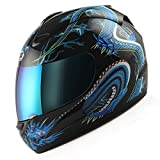 WOW Motorcycle Full Face Helmet Street Bike Blue Dragon Black