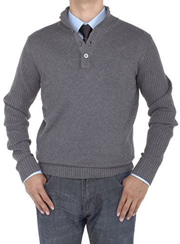 Luciano Natazzi Men's Mock Neck Ribbed Sleeve Quarter Button Sweater Relaxed Fit (XXXX-Large, Charcoal)