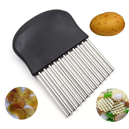 Lancoon KT44 - Coltello multiuso, ondulato, per patatine fritte e insalate