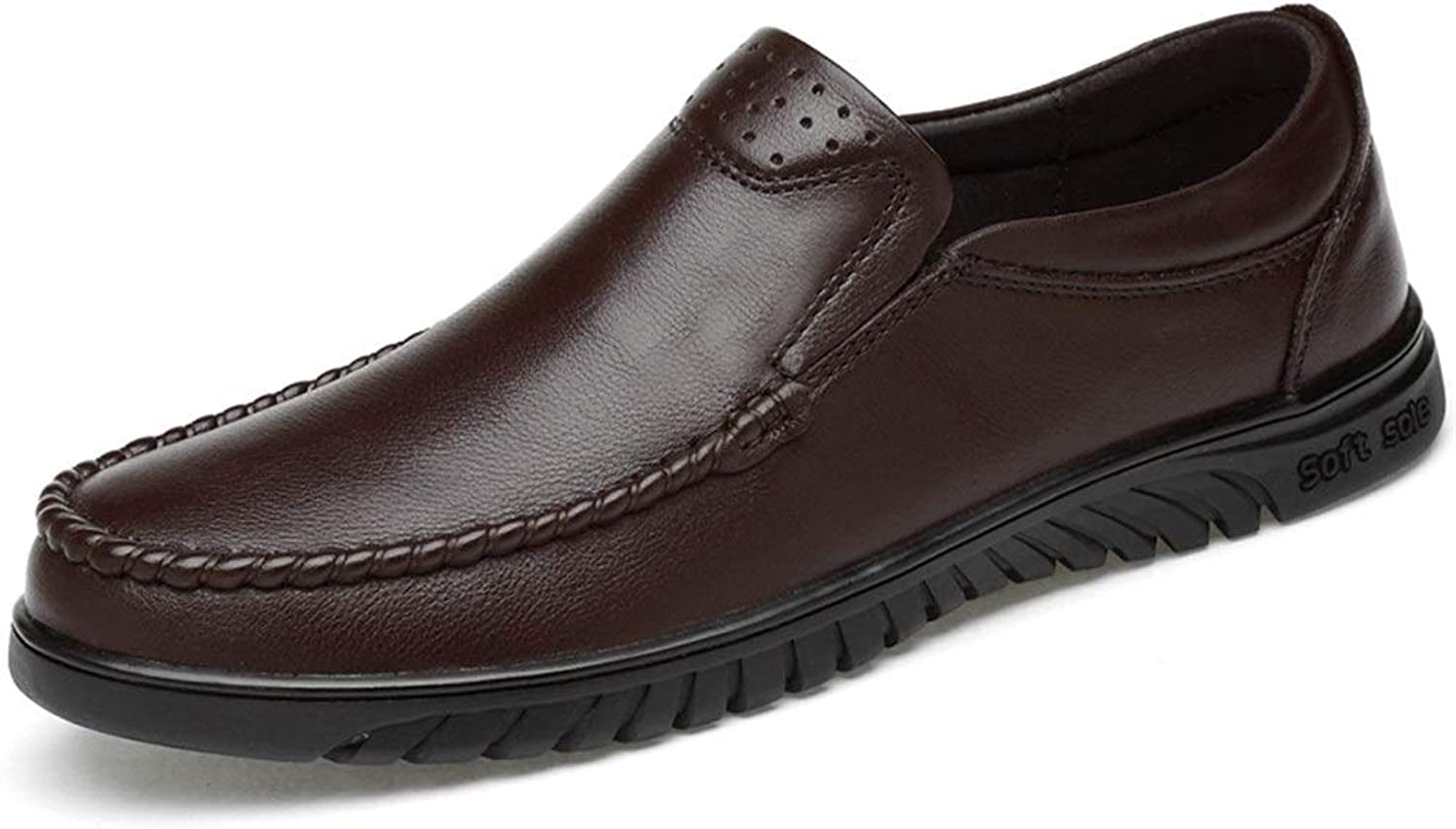 MUMUWU Men Oxford Formal shoes Slip On OX Leather Solid color Outsole Round Toe(Fleece Inside Or Balck Hollow Optional) (color   Brown, Size   9 D(M) US)