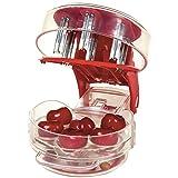 Keetech Removedor de Semillas de Cereza, Multi-deshuesador de Cerezas fácil de apretar con Agarre 6 deshuesadores de Cerezas, Rojo
