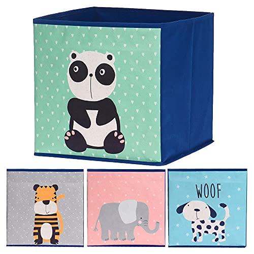 Murago 4er Set Faltboxen ca. 30x30x30 cm - Aufbewahrungsbox faltbar Körbe Blau Grau Rosa Grün Einschub Boxen Stoff Würfel Regalkorb Klappbox für Kinderzimmer