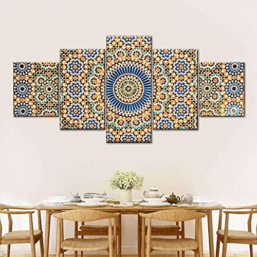 5 Piezas Cuadro de Lienzo - Azulejo de cerámica marroquí psicodélico abstracto Pintura 5 Impresiones de imágenes Decoración de Pared para el hogar Pinturas Carteles de Arte HD 200cmx100cm Sin Marco