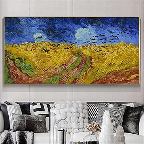 Arte impresionista de Van Gogh Lienzo abstracto Cielos amenazadores Pinturas famosas Impresión en lienzo Arte Cuadro de pared Decoración 30x60cm (11.8x23.6in) Sin marco
