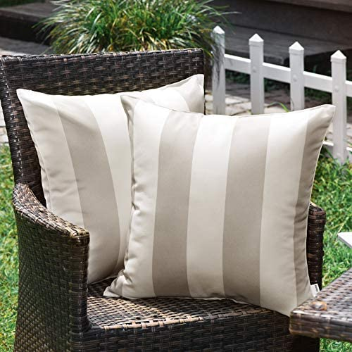 WESTERN HOME WH Outdoor Pillow Covers 20x20 Waterproof Stripe Square Pillowcases Patio Throw product image