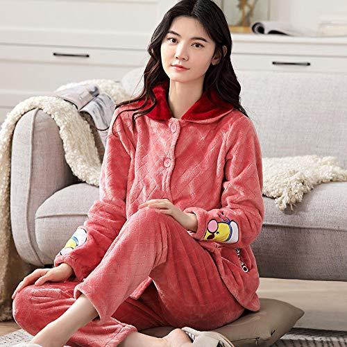Cxypeng Pyjama Schlafanzug,Dicker Pyjama aus Korallen-Samt mit Revers, langärmelige,...