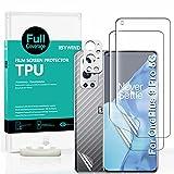 Ibywind Protector de Pantalla para OnePlus 9 Pro 5G(6.7') [2 Piezas],con Metálico Protector de Lente de Cámara,Atrás Pegatina Protectora Fibra de Carbono,[Admite la función de Huella Digital]