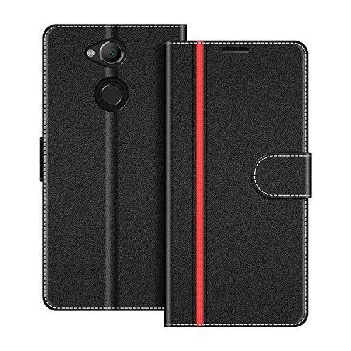 COODIO Handyhülle für Sony Xperia XA2 Handy Hülle, Sony Xperia XA2 Hülle Leder Handytasche für Sony Xperia XA2 Klapphülle Tasche, Schwarz/Rot