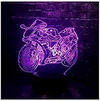 LEDナイトライト3DLedナイトライトモーターサイクルLedライトモーターサイクルシェイプカー7色変更マンボーイギフトベッドルーム装飾モト電球Rcおもちゃ