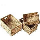 BGROEST-hm Cestas cestas de organización Juego de 3 cestas de Mimbre Hechas a Mano, papeleras Decorativas for el hogar Cestas Decorativas Cestas de organización for Sala de Estar, baño