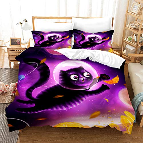 MUSOLEI Black Cat Double Quilt Duvet Cover & 1 Pillowcase Bed Set for Kids,Soft Double Bedding Duvet Set Boys,Double Bedding Animal 3D Cat Quilt Double Bed Cover Cool,Zipper(Flying cat,Double)