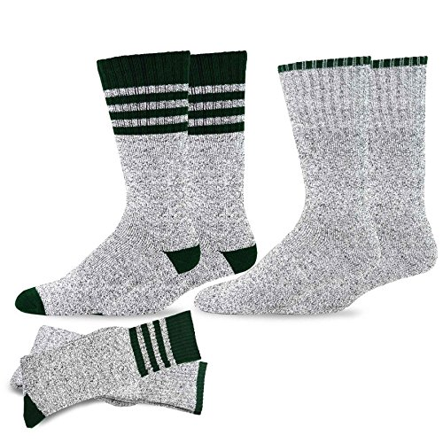 Soxnet Eco Friendly Heavy Weight Recycled Cotton Thermals Boot Socks 2-Pack (10-13, Stripe Green)