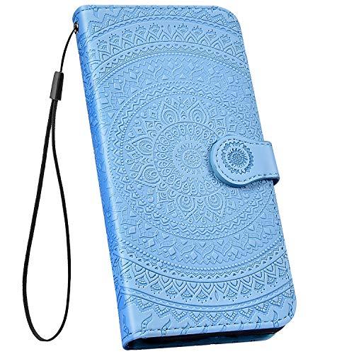 Ysimee kompatibel mit Samsung Galaxy J5 2017 Hülle 3D Bookstyle PU Leder Schutzhülle Wallet Flip Ledertasche Case Handyhülle Lederhülle Handy Tasche Schale [Standfunktion] [Kartenfach], Mandala Blau