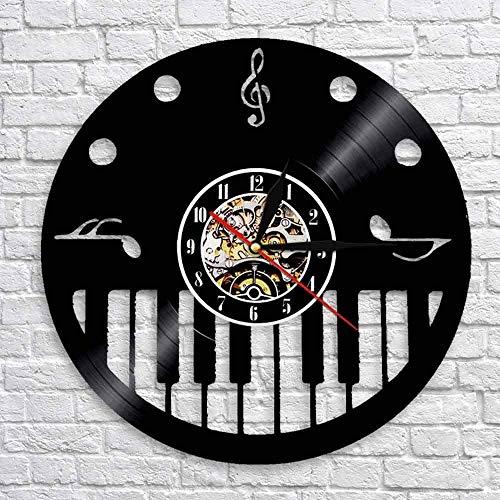 TJIAXU La decoración de la Pared del Estudio de música del Pianista, Piano Vintage, Reloj de Pared, Teclas de Arte y Disco de Vinilo de Agudos