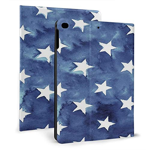 White Blue Star Flag Independence Day Ipad Case mini4/5 & ipad air1/2 TPU Protective Stand Cover with Auto Sleep Wake Up Ipad for IPad 7.9'&9.7' Tablet
