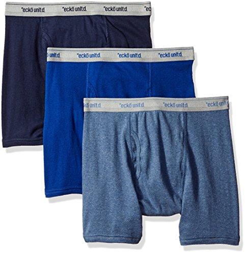ecko unltd. Herren 3er-Pack Unterwäsche Boxershorts Baumwolle atmungsaktiv bequem - Blau - Large