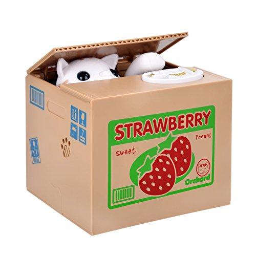 OBEST Caja de Dinero del Gato Robo de Monedas Penny Piggy Bank Caja de Dinero de Ahorro Bank Pot para niños