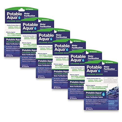 Potable Aqua Chlorine Dioxide Water Purification Tablets, 120...