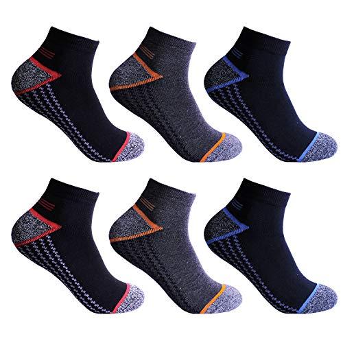 L&K 6 Paar Herren Thermo Sneaker Socken Bambus Sportsocken Dicke Gepolsterte-Sohle 3-Farben-Set 2201b 43-47