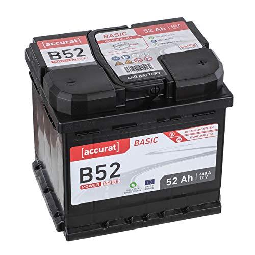 Accurat Autobatterie Starterbatterie B52 12V 52Ah 460A-Kaltstartstrom Blei-Säure Ca-Technologie Nassbatterie, 30% Extra-Startleistung, wartungsfrei