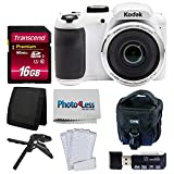 Kodak PIXPRO AZ252 Astro Zoom 16MP Digital Camera (White) + Point & Shoot Camera Case + Transcend 16GB SDHC Class10 UHS-I Card 400X Memory Card + USB Card Reader + Table Tripod + Accessories