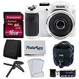 Kodak PIXPRO AZ252 Astro Zoom 16MP Digital Camera (White) + Point & Shoot Camera Case + Transcend 16GB SDHC Class10 UHS-I Card 400X Memory Card + USB Card Reader + Table Tripod + Accessories