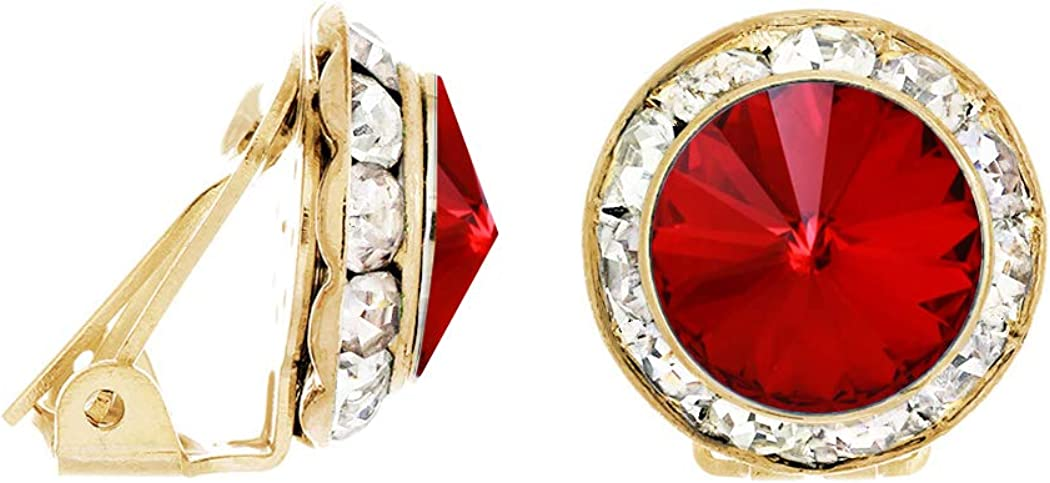 Rosemarie & Jubalee Women's Timeless Classic Statement Clip On Earrings Made With Swarovski Crystals, 15mm-20mm